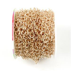 10m Rose Gold Plated Brass Oval Chain Approx 5x6mm