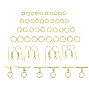 Gold Colour Plated Base Metal Chainmaille Bumper Pack, Inc ID 3, 4, 5 & 7mm Jump Rings, Shepherd Hooks & Toggle Clasps (813pcs)