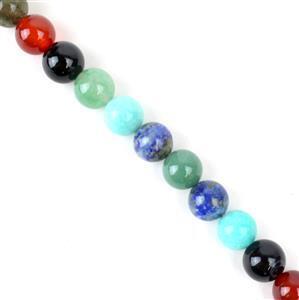 250cts Multi-Colour gems  Plain Round 10mm 38cm strand