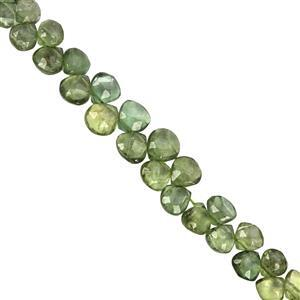 22cts Green Apatite Top Side Drill Graduated Faceted Heart Approx 4 to 6.50mm, 16cm Strand with Spacers