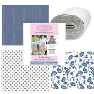 Debbie Shore's Blue Floral Shelley Bag Kit: Instructions, Bosal & Fabric (1.5m)