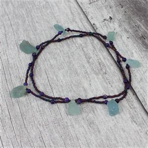 Bronze hemp cords,Aquamarine drilled rough,purple terra jasper,Iris 11/0,purple cord