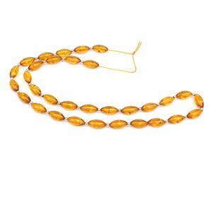 Baltic Cognac Amber Marquise Barrel Beads Approx 10x5mm Strand 36cm, 925 Silver Spacer