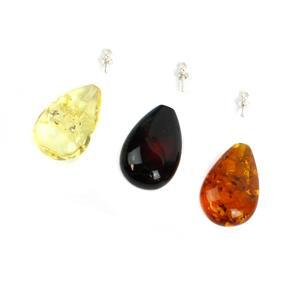 Baltic Cognac Amber Pendant Pack With Sterling Silver Pegs, Approx. 24x13mm Inc 1x Cognac, 1x Cherry, 1x Lemon
