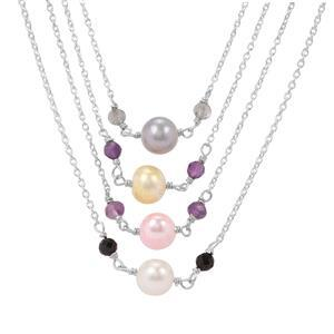 Kaleidoscope Gemstones Sterling Silver Set of 4 Bead Necklace