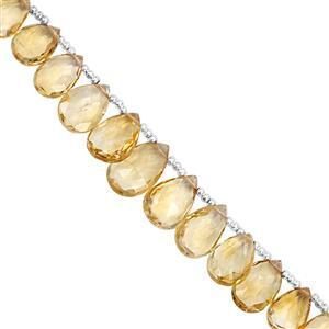 45cts Rio Grande Citrine Top Side Drill Graduated Faceted Pear Approx 8.5x6 to 14x8.5mm, 16cm Strand with Spacers