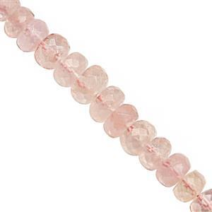 40cts Morganite Graduated Faceted Rondelle Approx 3x2 to 7x4.5mm, 20cm Strand