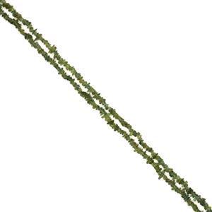 """190cts Green Apatite Small Chips Approx 2x4 to 4x7mm, 32-34"""" Strand"""
