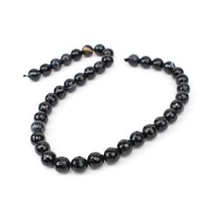 230cts Dyed Black Stripe Agated Faceted Rounds Approx 10mm, 38cm
