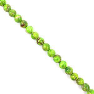 "70cts Peridot Green Variscite Plain Rounds 6x6mm 15-16"""