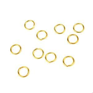 925 Gold Plated Sterling Silver Open Jump Rings ID Approx 5mm (10pk)