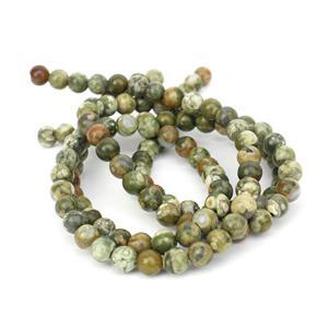 Under £10! 2x 90cts Rhyolite Plain Round Loose Beads Strand Approx 6mm 38cm