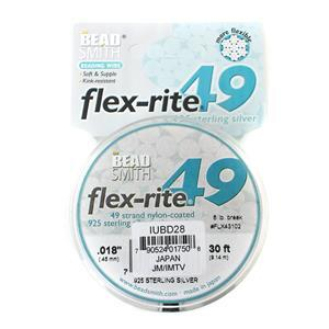 """Flex-rite 49 Strand Sterling Silver Wire Approx 0.45mm/0.018"""" 9.14m/30ft"""