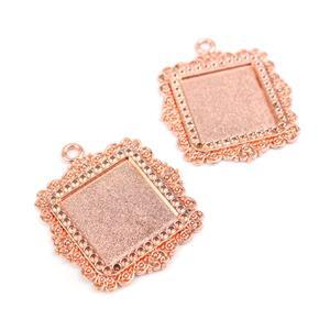 Rose Gold Colour Fancy Square Bezel Pendant Approx 35x40mm (Set of 2)