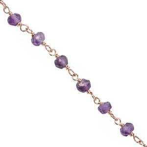 Rose Gold Plated 925 Sterling Silver Beaded Chain with Amethyst Faceted Rondelles (2.50mm), Approx 20inch