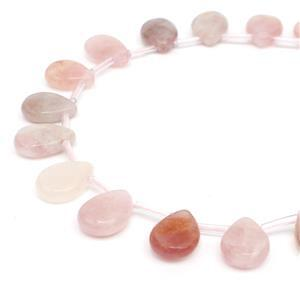 140cts Madgascar Rose Quartz Faceted Pears Approx 10x14mm, 28 pcs