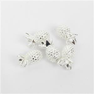 Silver Plated Base Metal Pineapple Spacer Beads, 8mm (5pk)