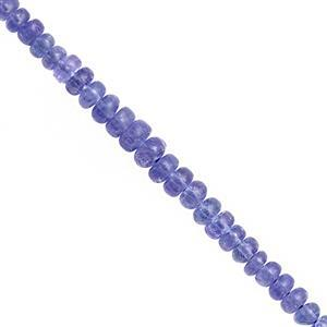 35cts Tanzanite Graduated Smooth Roundelle Approx 2x5 to 5x3mm, 19cm Strand