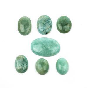 240cts Amazonite Smooth Oval Cabochon (Pack of 7)