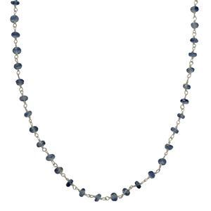 925 Sterling Silver Gemstone Chain Inc. 15cts Kyanite Faceted Rondelles Approx 3x2mm, Length Approx 50cm. IWUD78