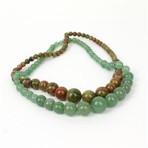 Trade Show Deal! 217cts Unakite & 207cts Green Aventurine Graduated Rounds, 6 to 14mm