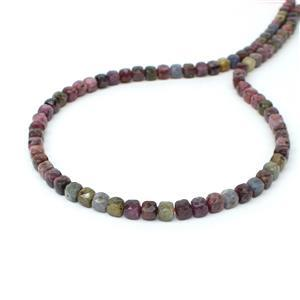 80cts Natural Burmese Multi-Colour Sapphire Faceted Cubes Approx 4mm, 38cm Strand