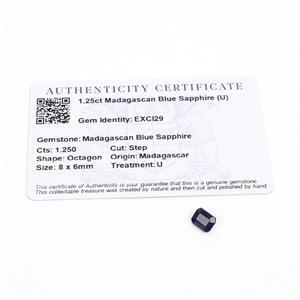 1.25cts Madagascan Blue Sapphire 8x6mm Step  (U)