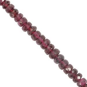 39cts Mahenge Garnet Faceted Rondelles Appprox 3.1x1.5mm to 5.4x2.7mm 16cm Strand