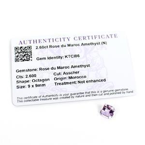 2.7cts Rose du Maroc Amethyst Octagon Asscher 9x9mm