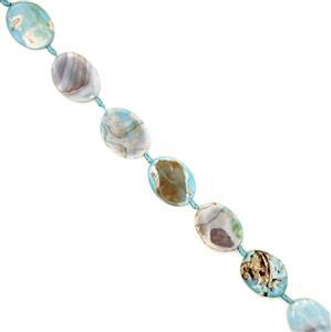 490cts Dyed Pastel Blue Agate Twist Ovals Approx 30x40mm, 38cm strand