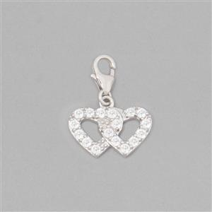 925 Sterling Silver Double Heart Charm With Lobster Lock Approx 22x16mm Inc. 0.72cts White Topaz Brilliant Round Approx 2mm