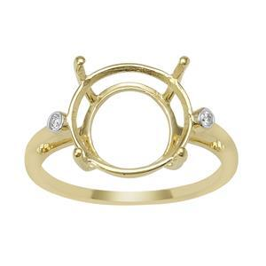 9ct Gold Round Ring Mount (To fit 12x12mm gemstone) With 2 Diamonds