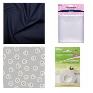 Grey Dots Celebration Clutch Bundle: Fabric (2m), Basting Tape & Interfacing