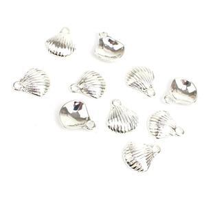 Silver Plated Base Metal Scallop Shell Charms, Approx 14x12mm (10pcs)