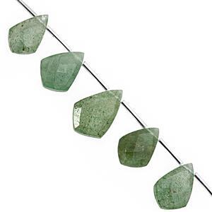 85cts Green Aventurine Faceted Shield Approx 13x7 to 21.5x14.5mm, 19m Strand with spacers