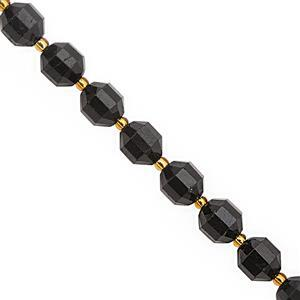 112cts Black Tourmaline Faceted Lantern Approx 10x8.5mm, 20cm Strand with Spacers