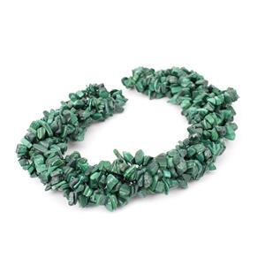"1130cts Malachite Chips Approx 4x7 to 5x8mm, 100"" Endless Chips Strands"