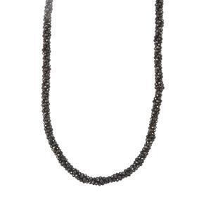Black Spinel Bead Necklace in Sterling Silver 76.33cts