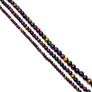 550cts Multi-Color Tiger's Eye Plain Rounds Approx 6 to 10mm, 38cm(Set of 3)