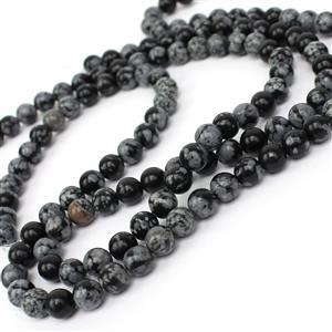 Double Trouble 90cts Snowflake Obsidian Plain Rounds Approx 6mm, 38cm Strand