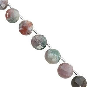 80cts Moss Agate Corner Drill Faceted Coin Approx 10 to 12mm, 20cm Strand with Spacers