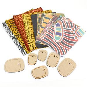 MDF Asymmetric Oval Pendants With Decorative Papers (6x MDF Pendants, 10x A5 Papers)