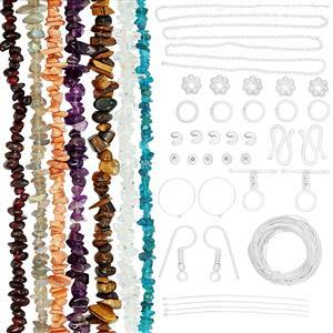 Bumper Findings Pack - Inc. 7 Gemstone Nugget Strands & Silver Plated Findings (1,119pcs)