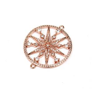 Rose Gold Plated Base Metal CZ Star Connector, Approx. 30mm (1pc)