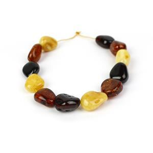 Baltic Multi Colour Amber Rough Beads Inc. Cognac, Cherry, Butterscotch. Approx 13x16 - 21x13mm, 20cm Strand