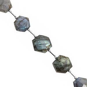105cts Labradorite Center Drill Faceted Hexagon Approx 13 to 18mm, 18cm Strand With Spacers