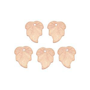 Rose Gold Colour Brushed Base Metal Leaf Charms, Approx 15x12.5mm (25pk)