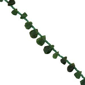 115cts Chrome Diopside Top Drilled Rough Nuggets Approx 8x6mm Strand 15-16""