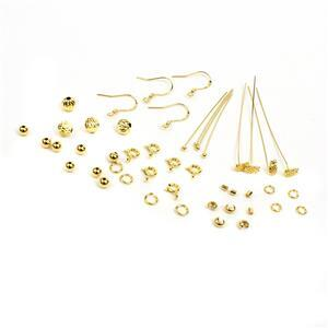 Gold Plated 925 Sterling Silver Findings Pack With Pineapple Headpins 44pc