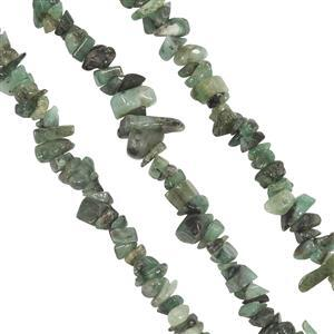 400cts Emerald Chips Approx 3x2.50 to 11x3mm, 83cm Set of 3 Strands.